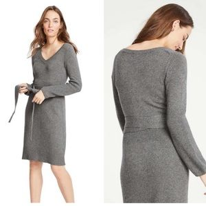 Ann Taylor tie waist v neck wool sweater dress